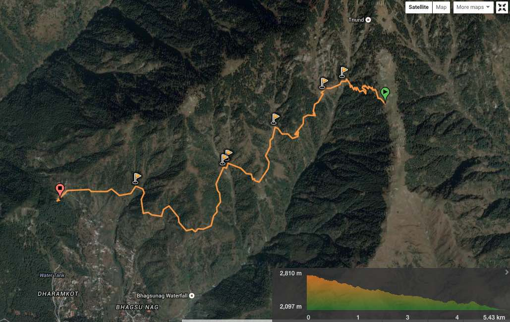 route overview - Triund to Galu Temple. View in  wikiloc  / Google maps