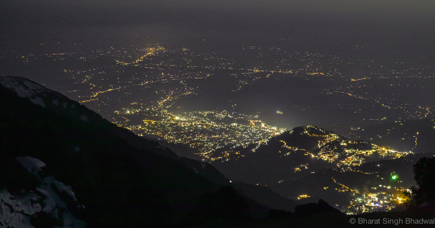 Dharamsala and Mcleodganj - at night from Triund