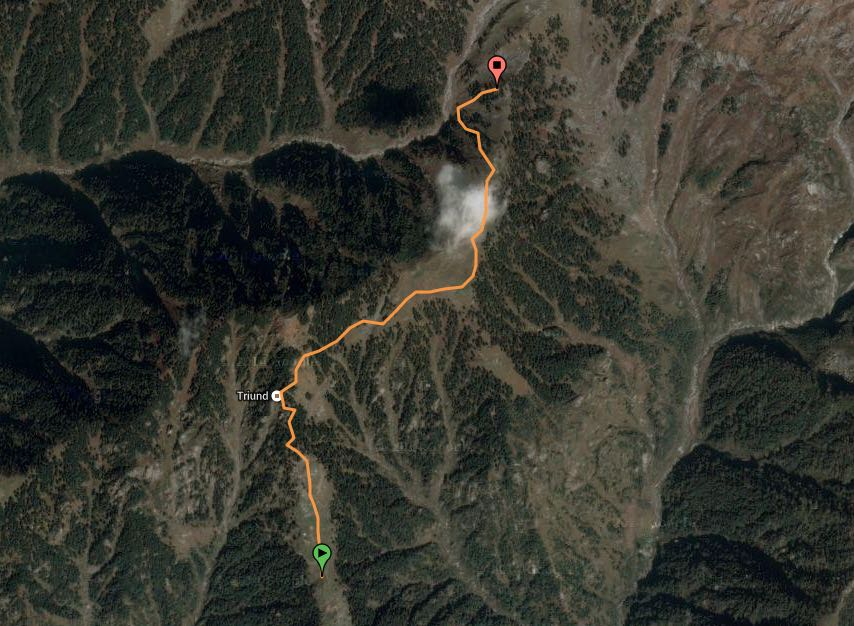 route overview - Triund to Snowline cafe (view in  wikiloc /  google maps )