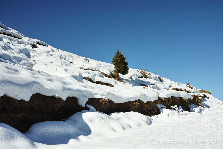 A snowbound access to Prashar Lake