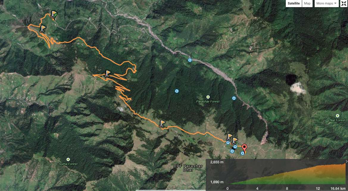 route overview - Baagi village to Prashar Lake (view in  wikiloc  /  Google maps )