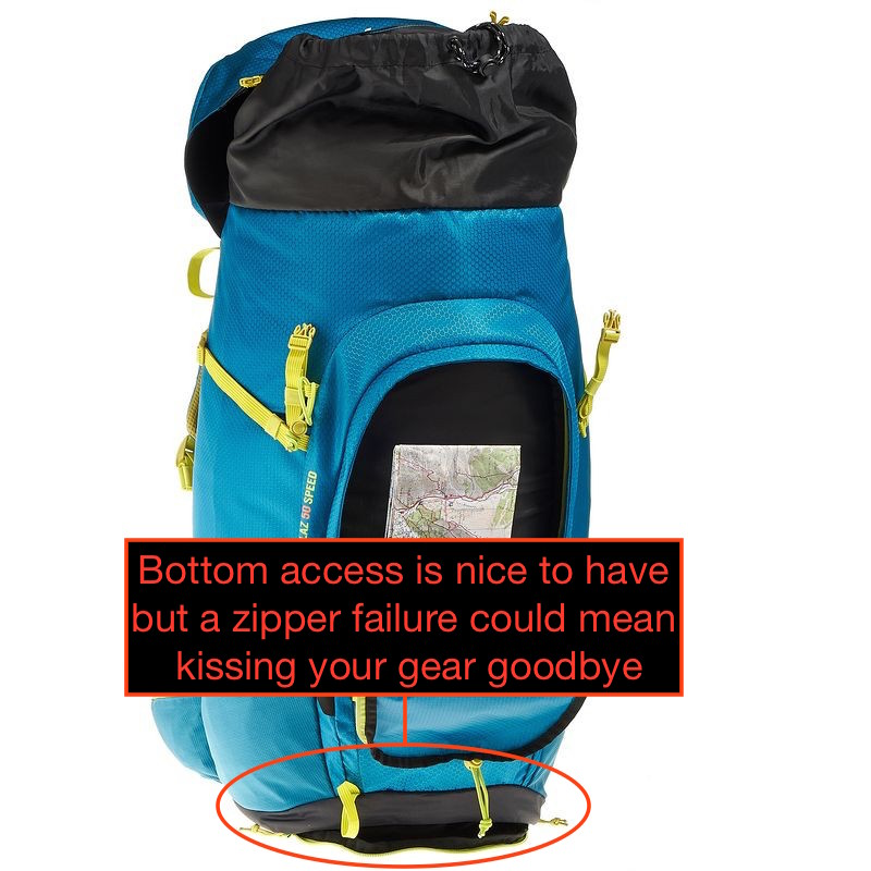 Bottom accessis nice to have but a zipper failure could be catastrophic