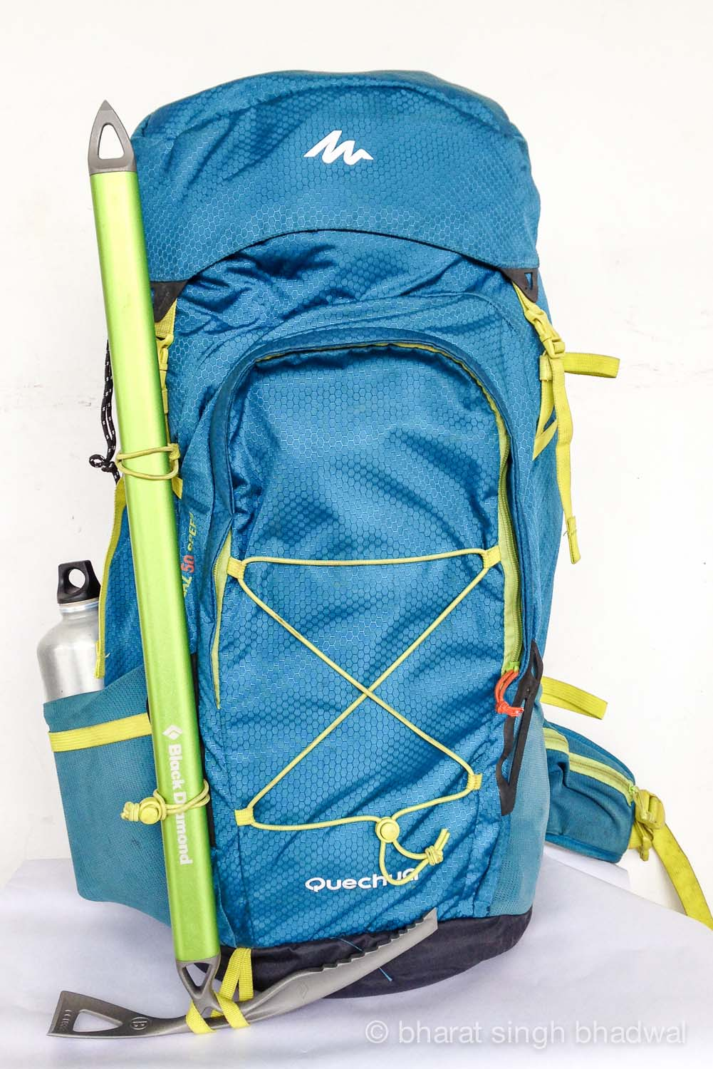 Trekking poles / ice axe loops with the correct way to cinch down an ice pick.