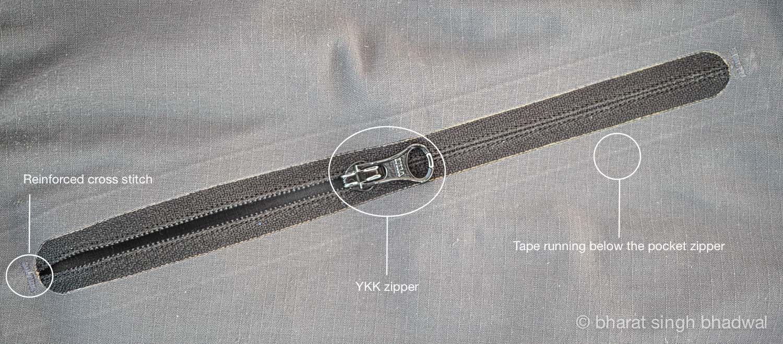 Front slash pocket zipper