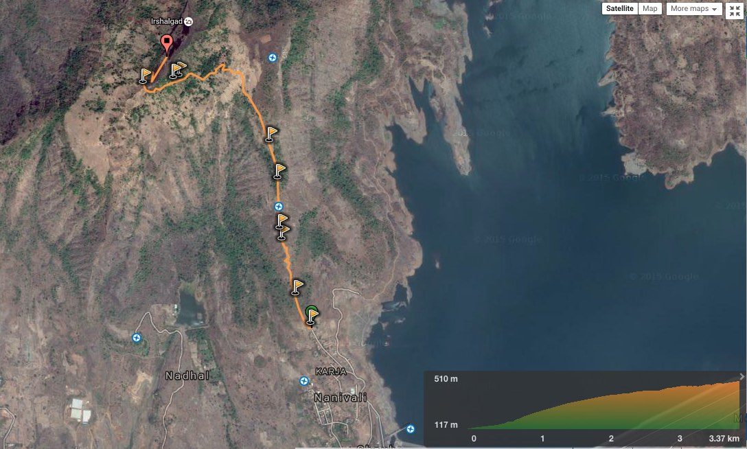 2D route overview - Karja to Irshalgad day trek (view in  wikiloc  /  google maps )