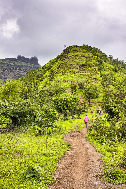 Start for Irshalgad trek. Irshalgad pinnacle is visible in the background.