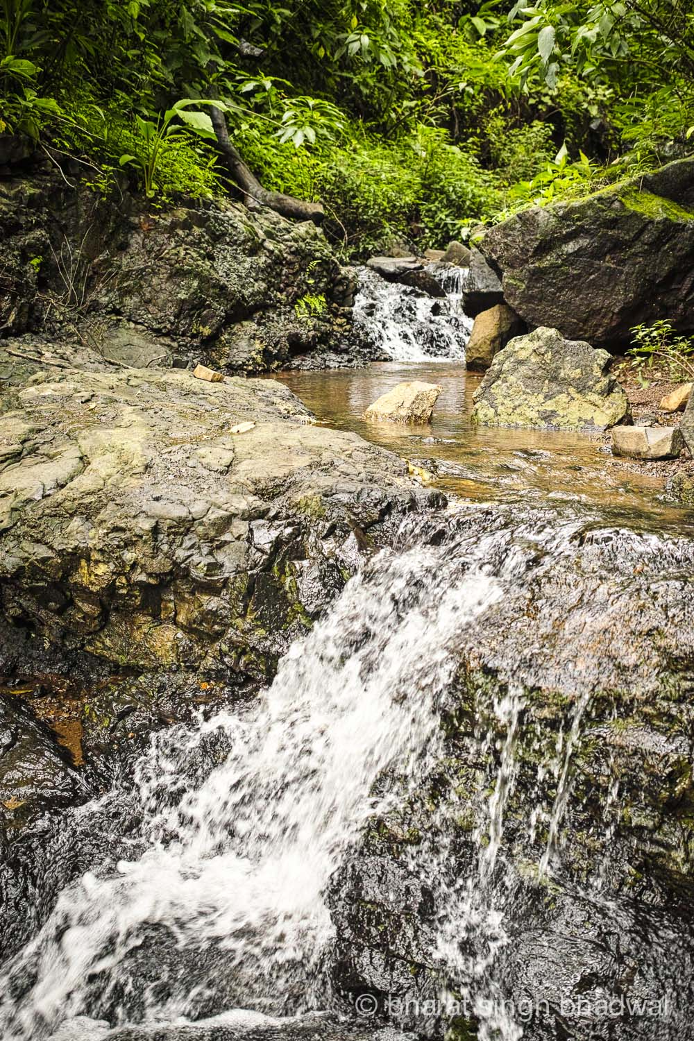 A gushing stair waterfall along the trekking trail