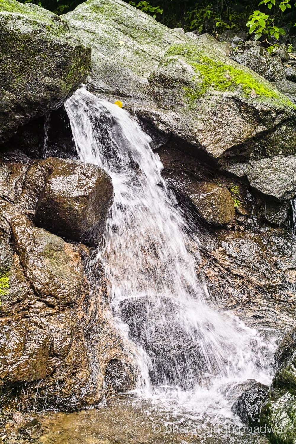 A small waterfall next to the shack