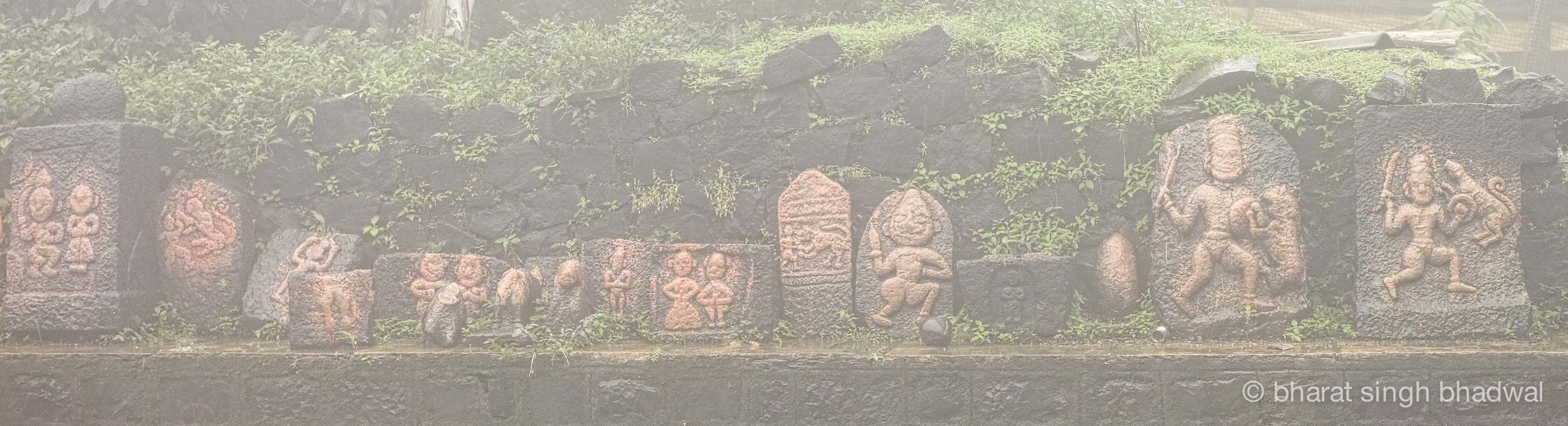 Historical idols at Kamalaja temple, viewed through the mist