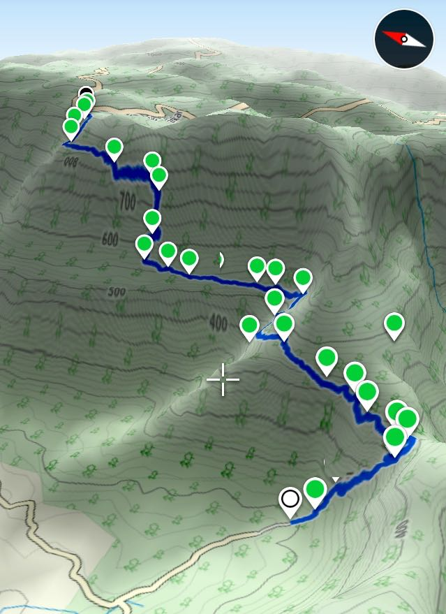 3D route overview that shows the 3 climbs on the trekking trail.