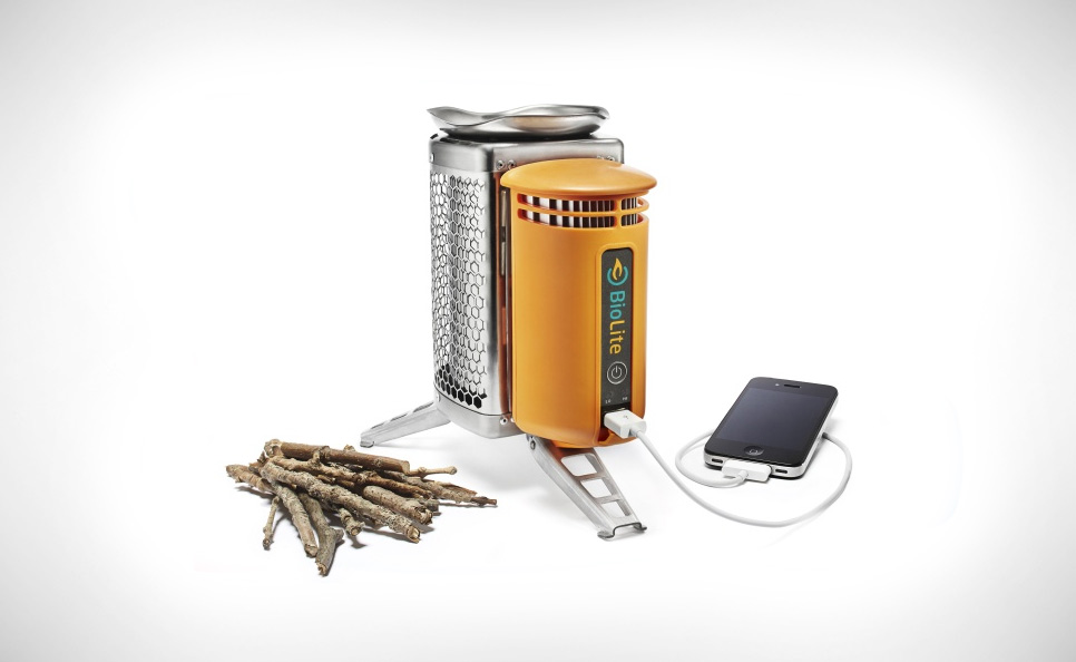 Biolite wood burning stove with its integrated USB charger.By  BioLite [ CC BY-SA 3.0 us ], via Wikimedia Commons
