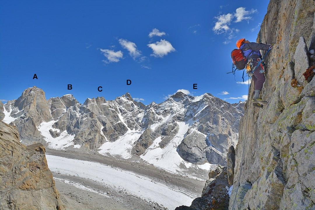 Image courtesy : American Alpine Club  Author / Photographer: Carloncho Guerra  Publication Year: 2013   Caption: Los Crotos on Masala Peak. Across the Chhudong Glacier lie (A) Neverseen Tower, (B) Lotos Peak, (C) Geruda Peak, (D) Mont Maudit, and (E) Double Peak.