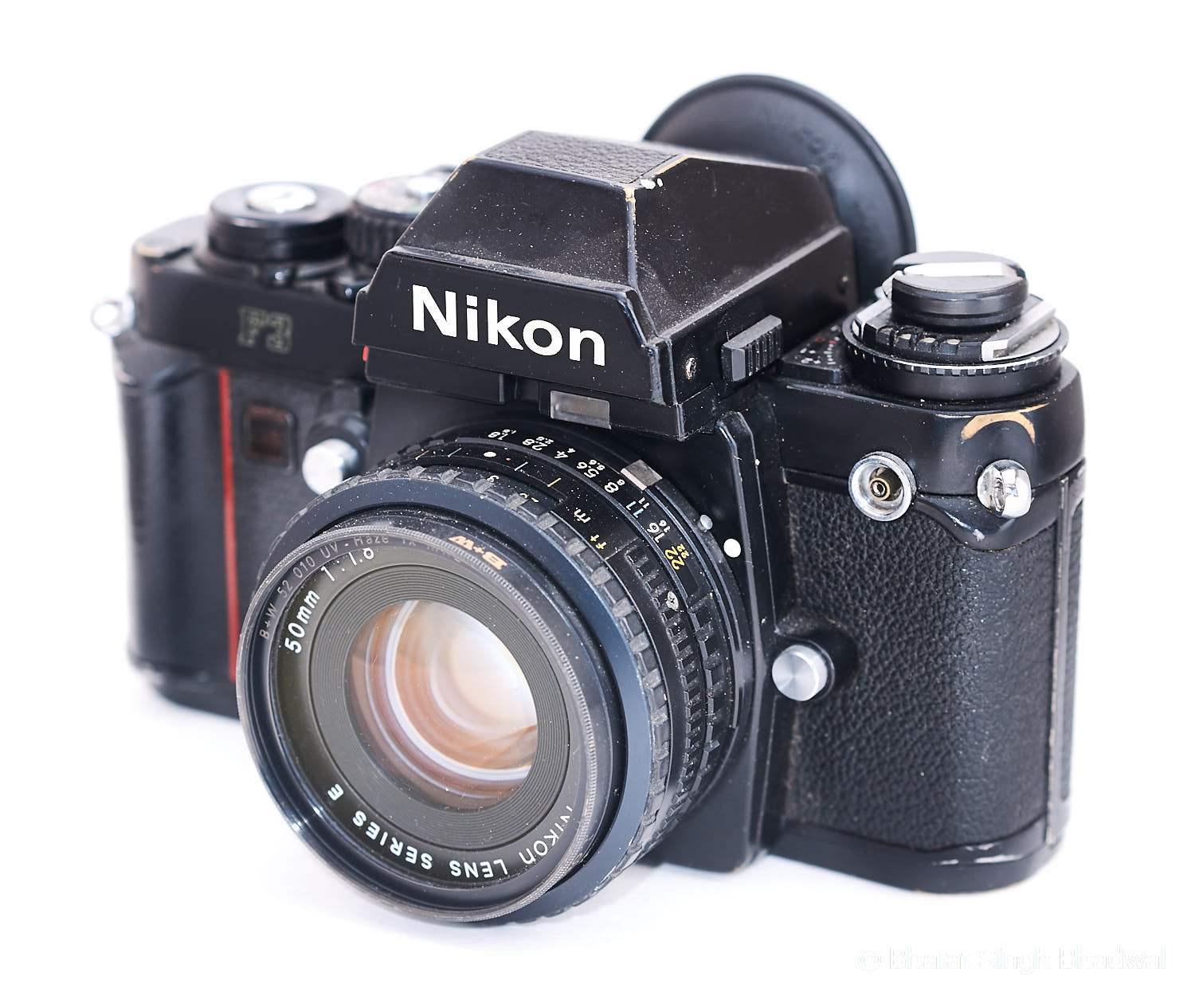 Our Nikon F3. Note the brassing on the side and a minor dent on top of the pentaprism. The dent on the pentaprism was a result of a 4 foot drop on hard concrete. Such ruggedness is hard to get in any current DSLR.