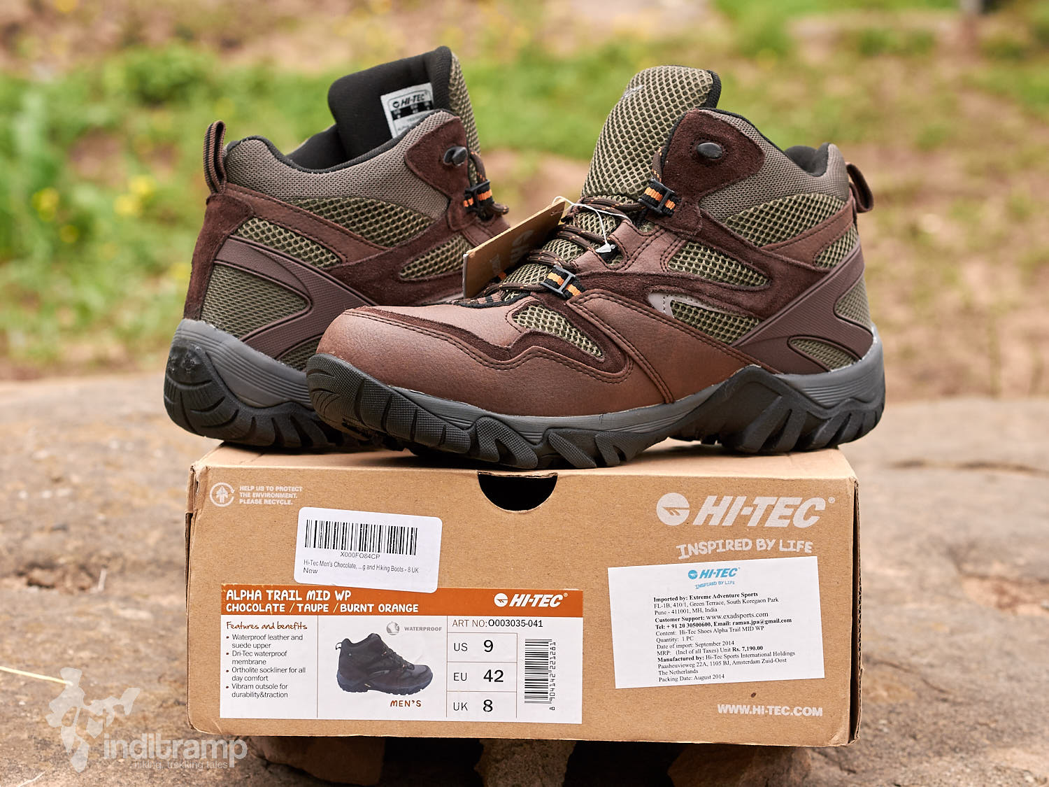 Hi-Tec's Alpha Trail Mid.The pair that we own and are quite happy with