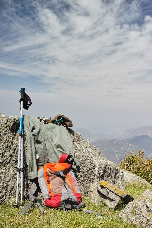 Trekking gear. Quechua Forclaz 30 daypack, Forclaz 500 hiking poles, Forclaz 50 fleece, Garmin Etrex20x GPS, Cap and more