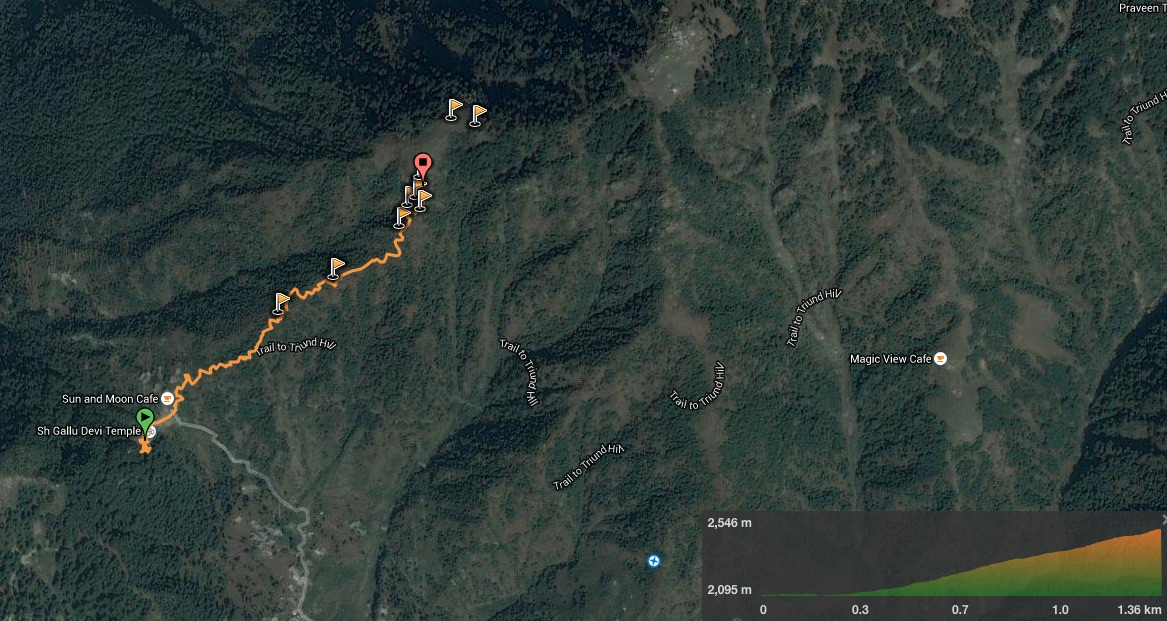 Satellite overview of the trekking trail
