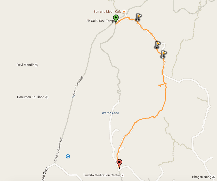 A route that cuts through the heart of Dharamkot. A good way to get supplies or for a town visit