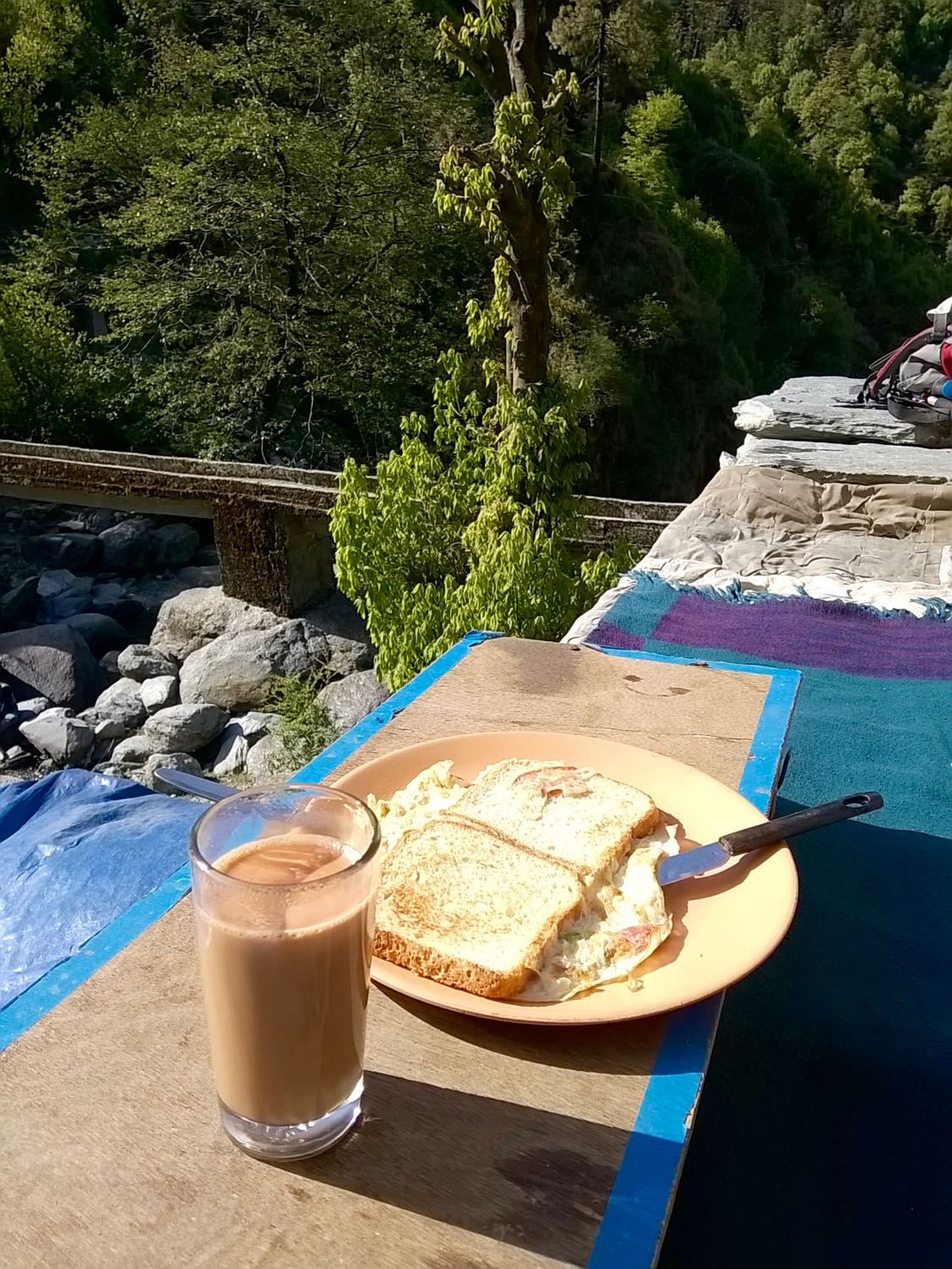 Breakfast at Adventure cafe. The bridge in the background crosses Bhated Stream