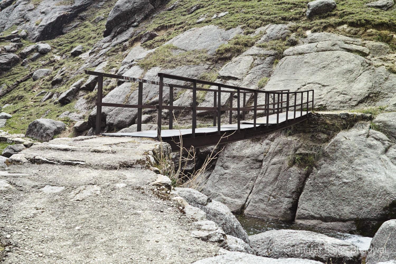 Rickety iron bridge over Nyund Nullah (Stream)