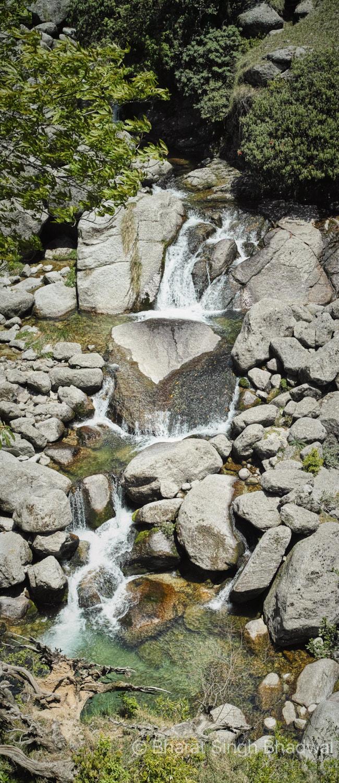 Waterfalls, eddies and pools in Nyund stream at Jammu Goth