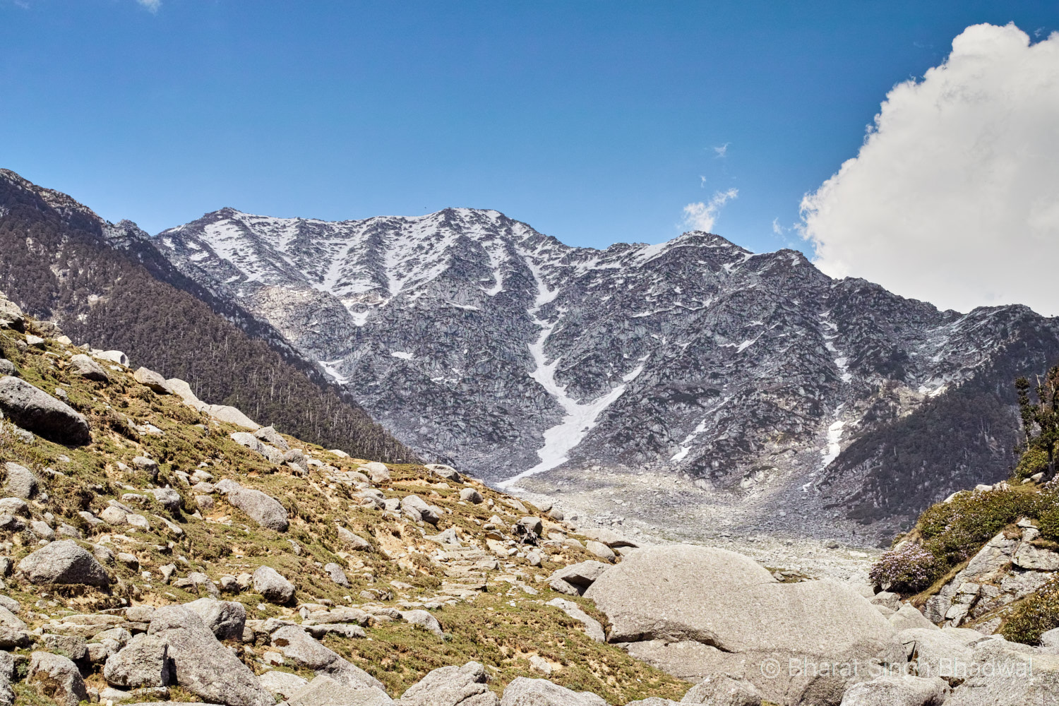 Kareri Lake trail (visible on the left) after the third and final stream crossing . Towering Minkiani Pass (4300m) in the background.