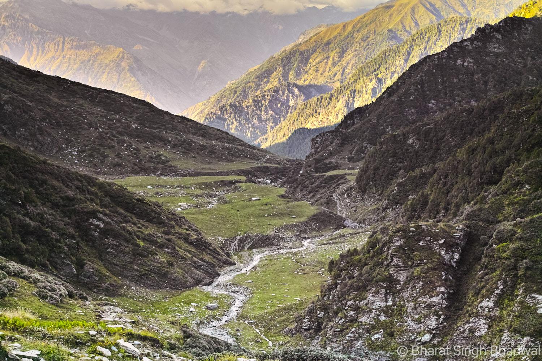 A stream flows through Jalsu Gothe a.k.a. meadow