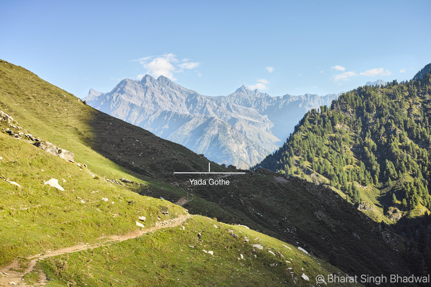 Approaching Yada Gothe. Yada is an excellent place for an overnight stay and it has the best view of Mani Mahesh / Chamba Kailash and Kuja Peak.