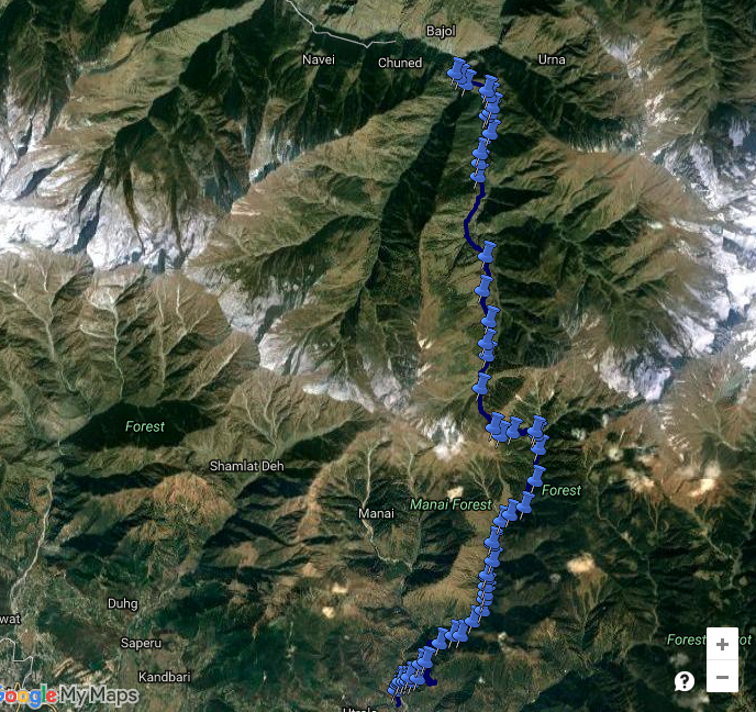 Satellite view of the Jalsu Pass Trek route (view in google maps)