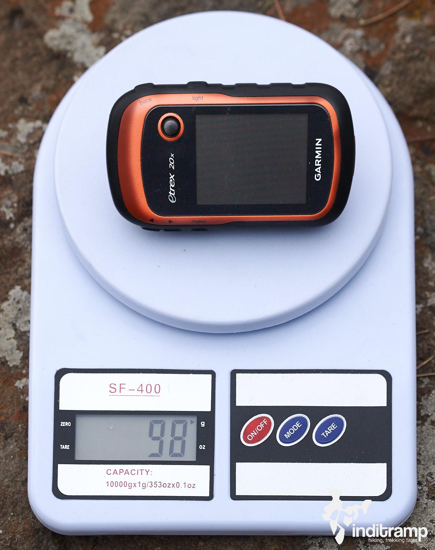 Garmin Etrex 20x weighs just under 100g without batteries.