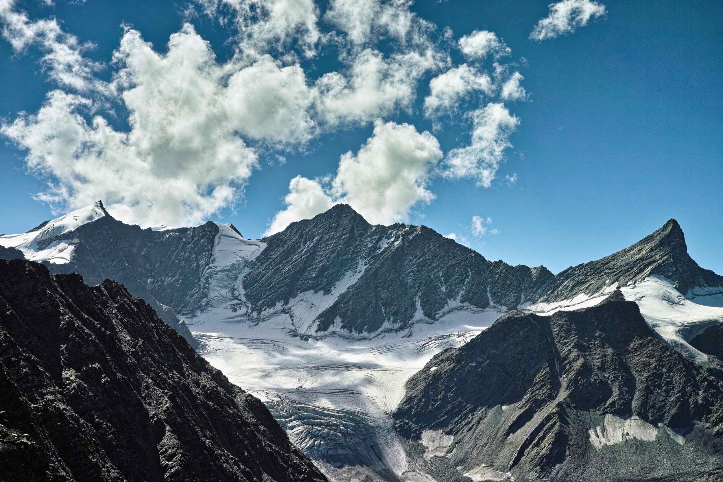 Kuja peak and glaciers to the east of Kalah pass