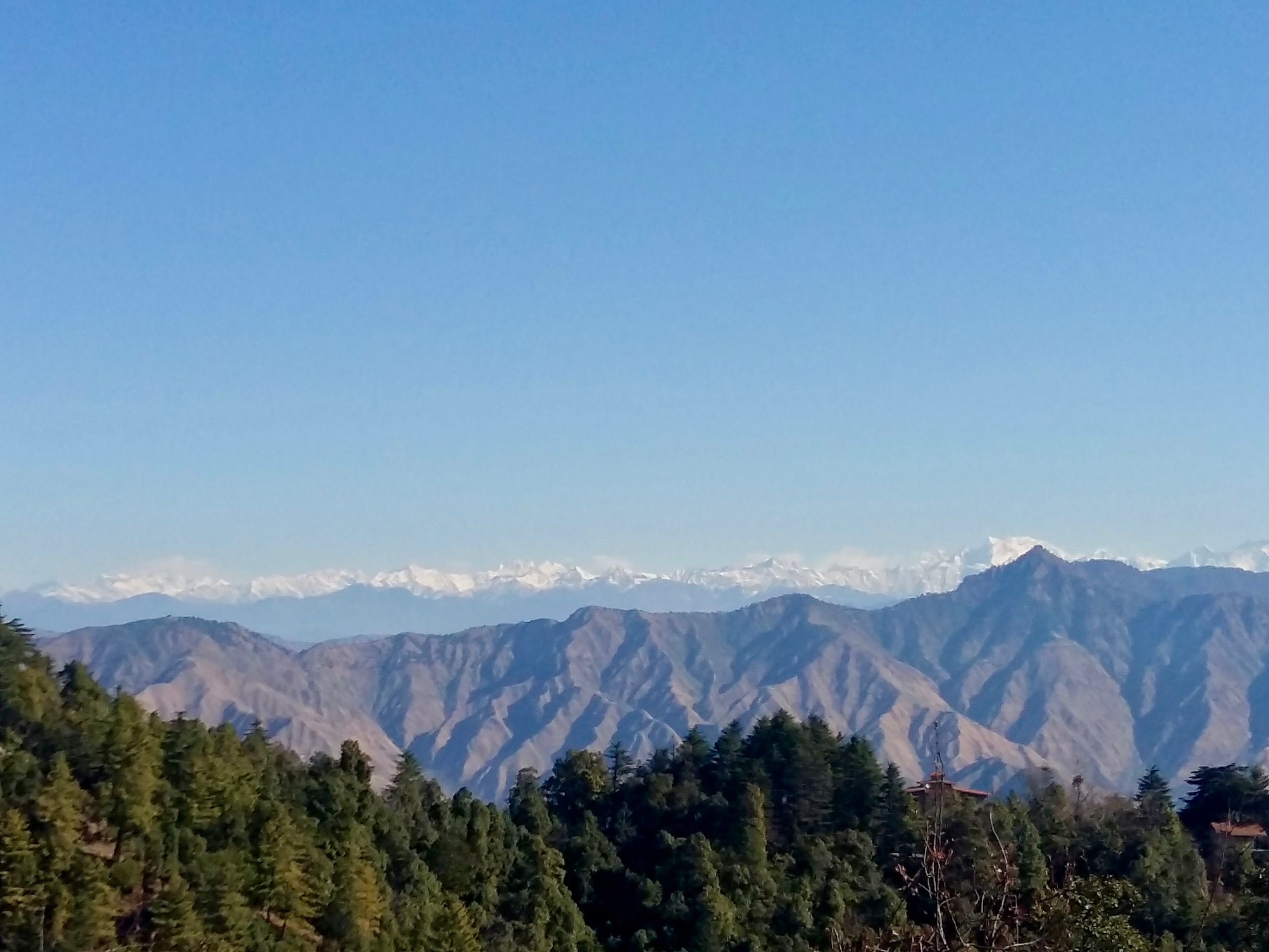 Garhwal Himalayas including Bandarpunch massif and Gangotri group, visible from George Everest House, Mussoorie.