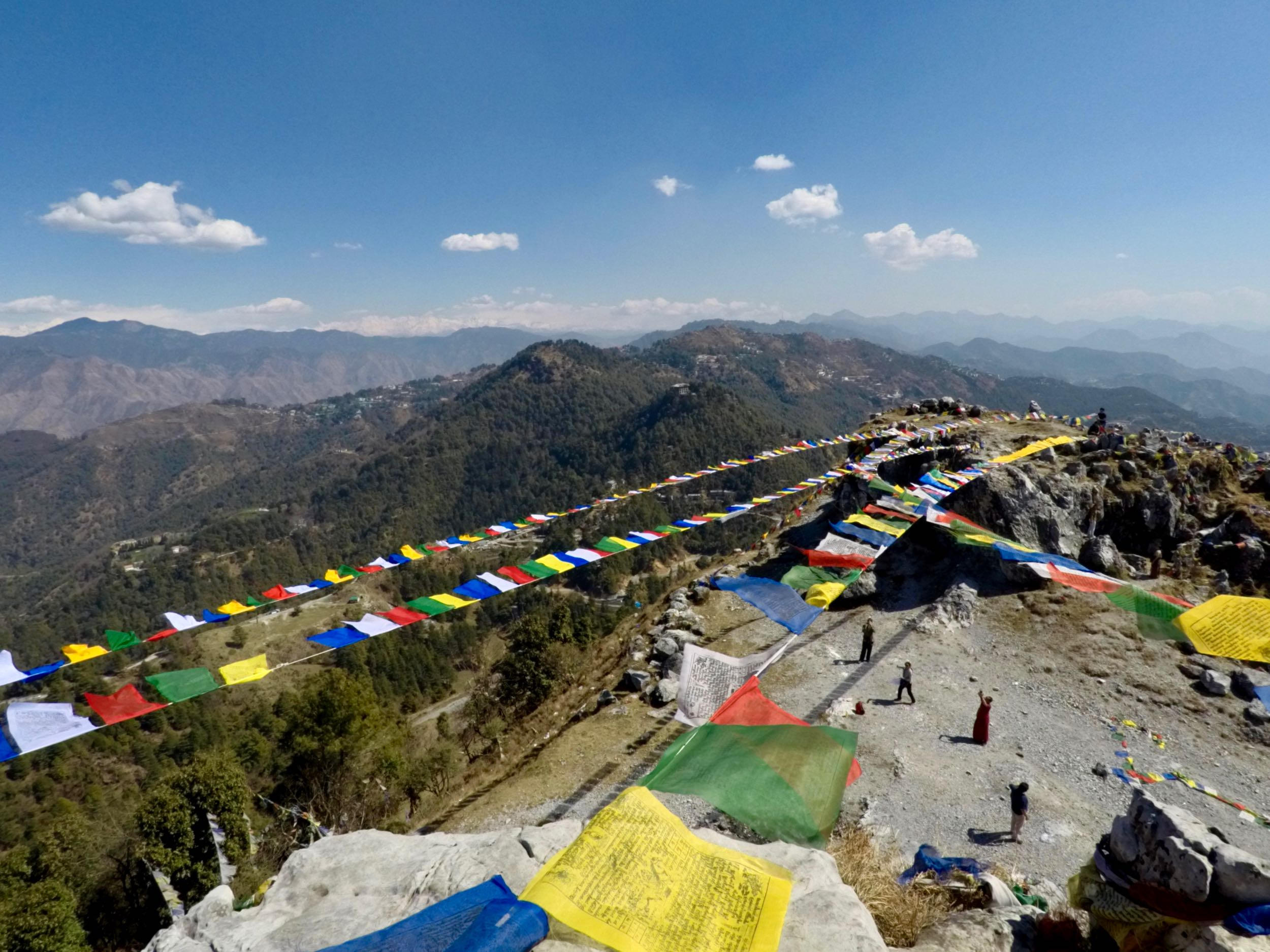 Prayer flags go up around the two
