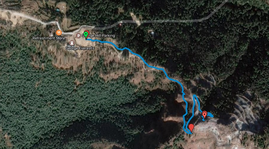 Route Overview - George Everest Parking to Tibetan Hill