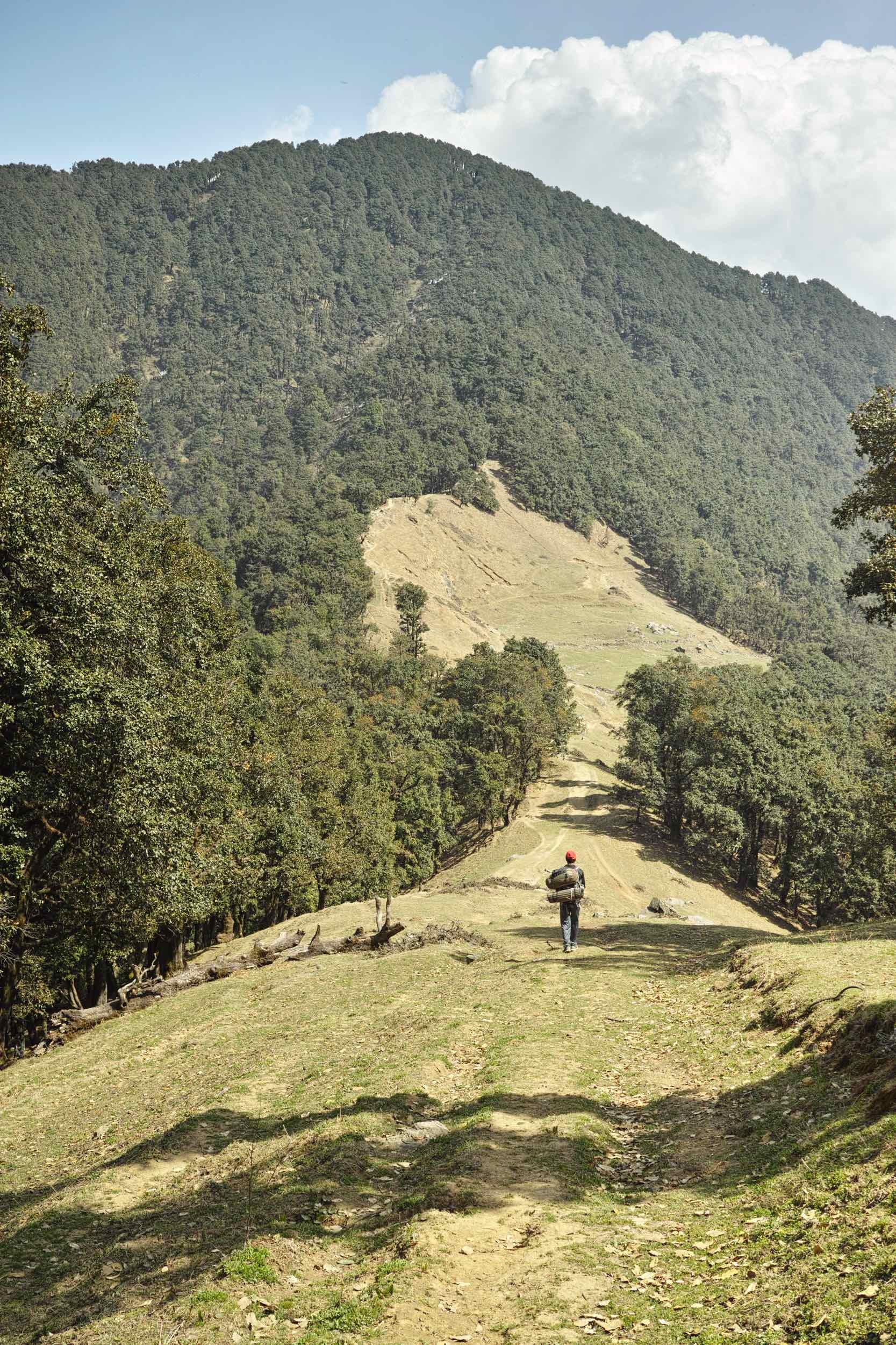 Walking along Nag Tibba ridge