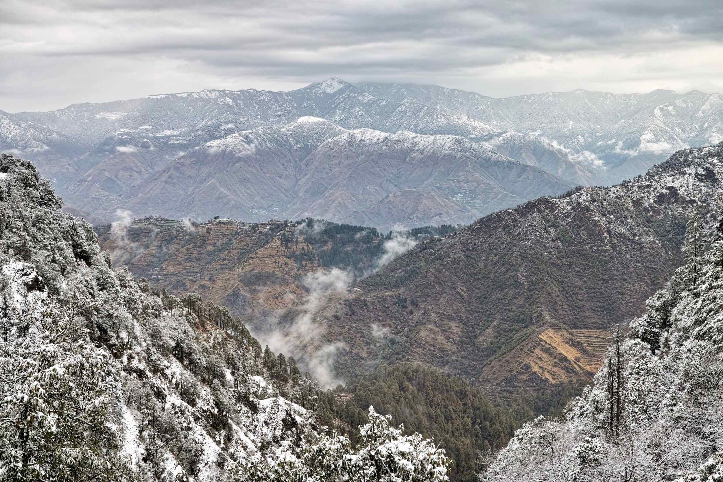 Nag Tibba covered in snow on Holi, as viewed from Bataghat (East end of Mussoorie)