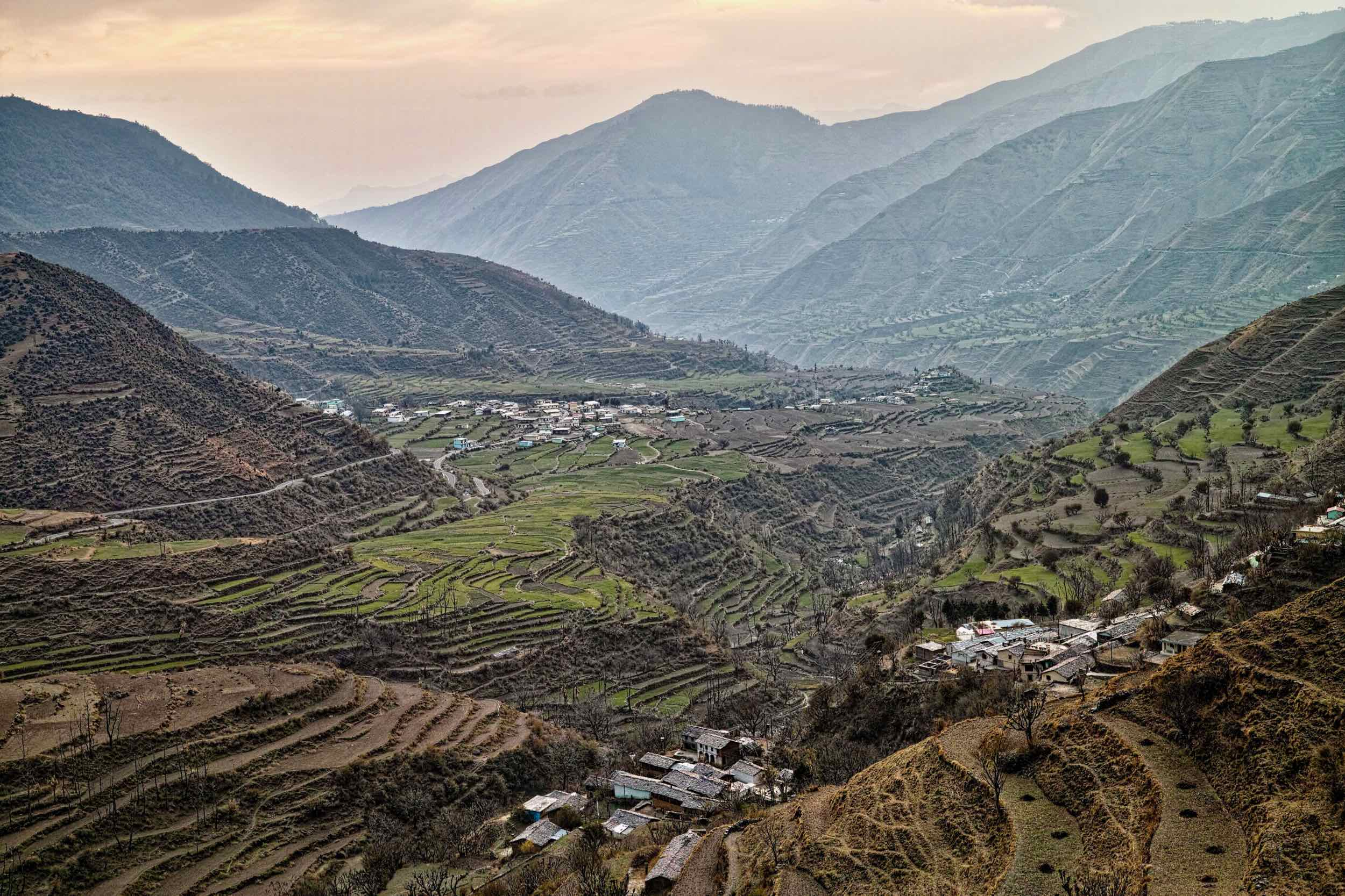 Sunset over Pantwari and terraced fields as seen from the road to Patharkhol