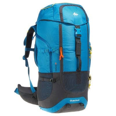 Quechua Forclaz 60 - Our budget pick for a summer backpack. We reviewed its 70 litre cousin here.  Good build, lots of pockets, adjustable suspension, and cheap! ₹ 3,499
