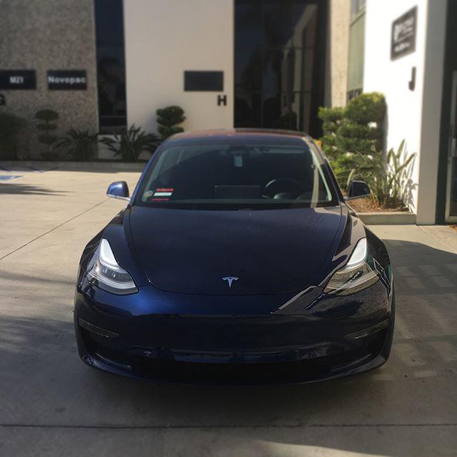 Tesla Model 3  #tint #windowtinting #carstagram #perfect #tintcrew #buenapark #orangecounty #new #tesla  #teslamodel3 #blue