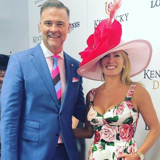 30 minutes till post time and Coach is already a winner with Jenna! #stuartmercer #gentlemanslife #luigibianchimantova #redcarpet #kentuckyderby