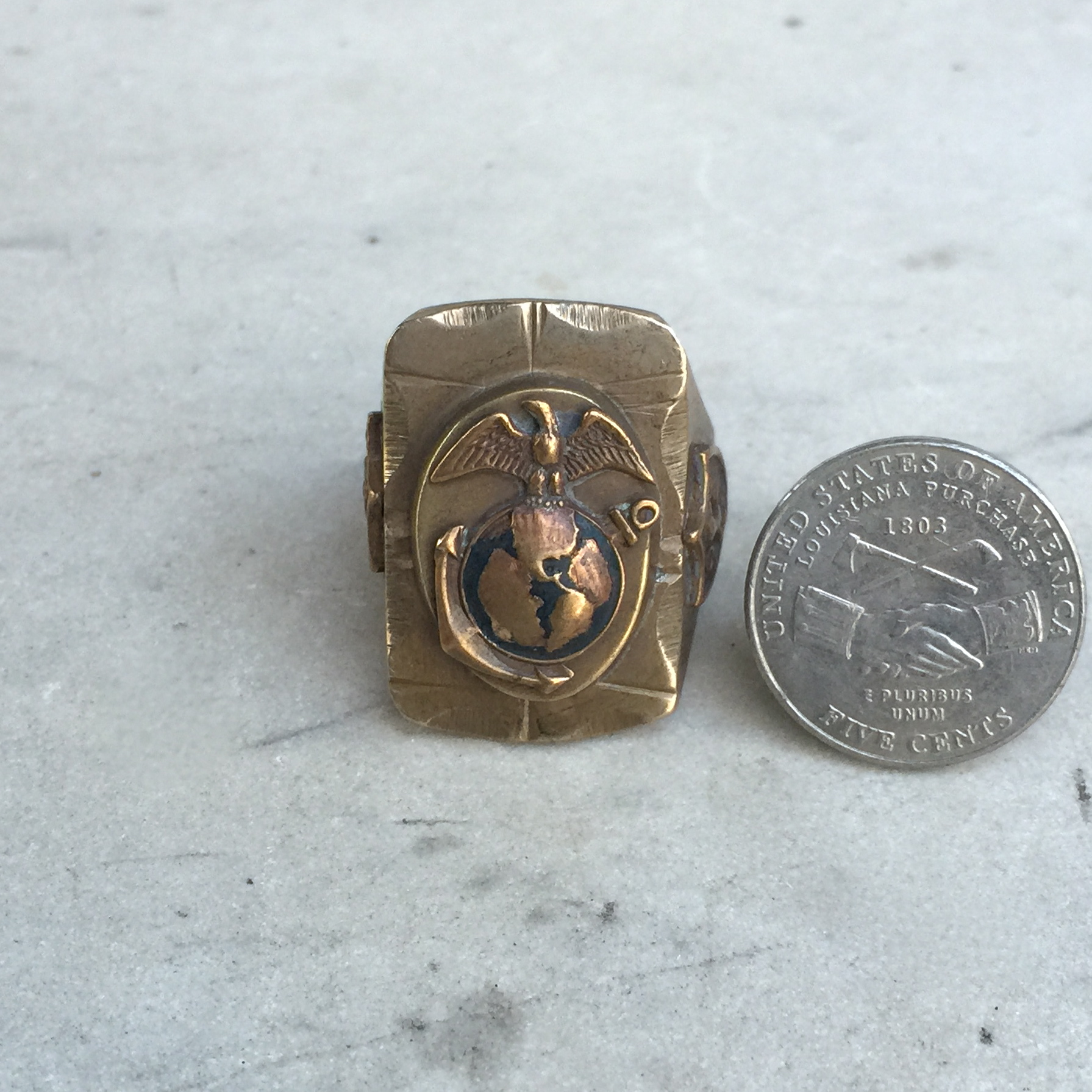 Vintage Ww2 Marine Corps Mexican Biker Ring Worn Over Time