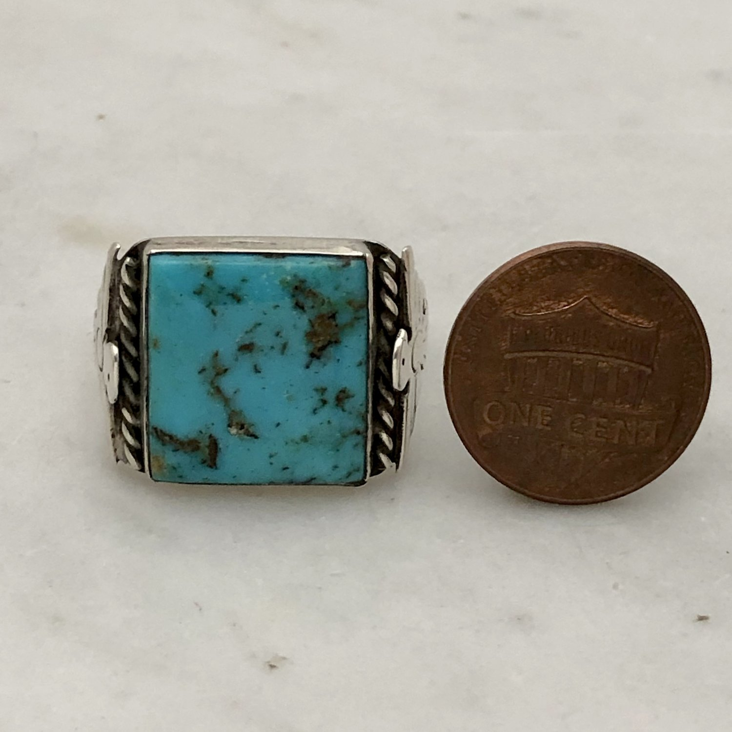 Vintage Fred Harvey Era Maisel\u2019s Route 66 Turquoise And Sterling Silver Ring Size 7 12