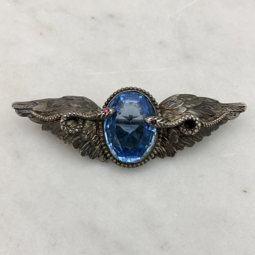 6a78d6df98495 1900s Winged Serpents Blue Jeweled Silver Pin Brooch — Worn-Over-Time
