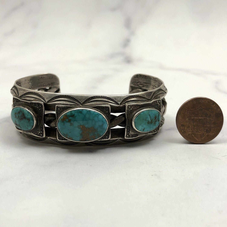 Fred Harvey Era Navajo Turquoise Sterling Silver Cuff Bracelet ETC1753