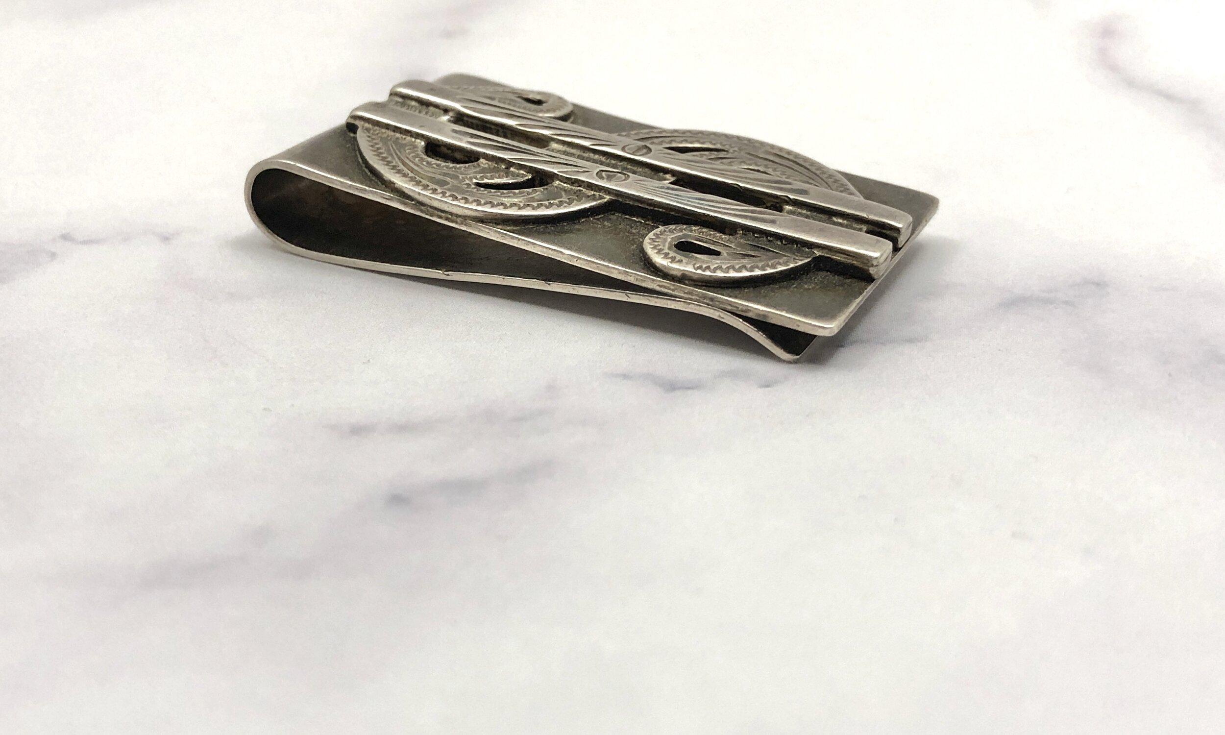 Vintage Etched Sterling Money Clip, Vintage Sterling Silver Etched Dollar Sign Money Clip