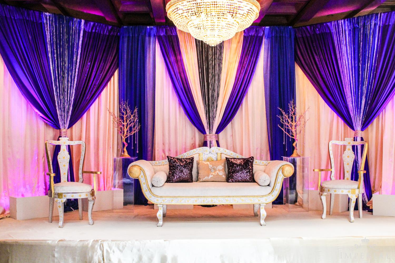 White Fabric Sofa Set with Gold Tin Based Design