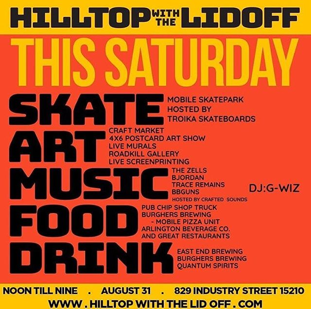 When @cwpress says they're throwing a party, you know we want to be there. Join us in Allentown for Hilltop With the Lid Off, this Saturday! We'll start serving beer around 2pm, so come thirsty for art, skateboarding, music, and fresh local beer!