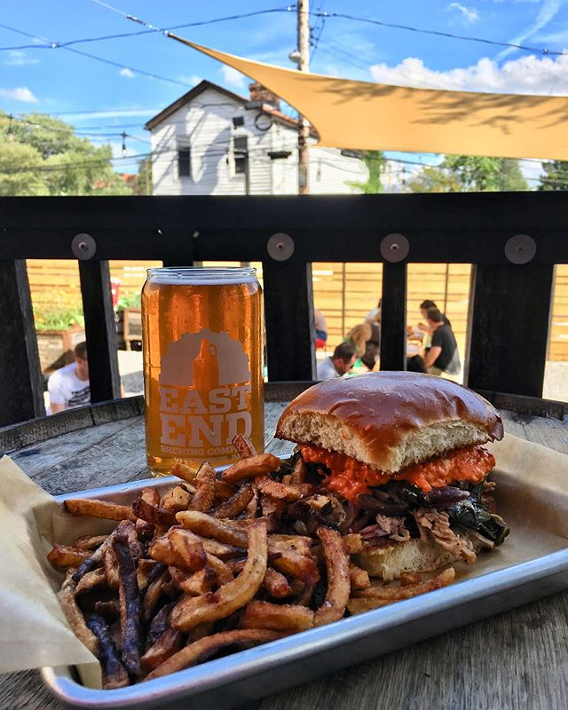 Still feels like summer! Come enjoy this weather and some food from Larder. We've paired their BBQ pork sandwich with our EAST LIBERTY Cream Ale; the sweetness of the beer perfectly complements the tang of the bbq sauce. See you soon!