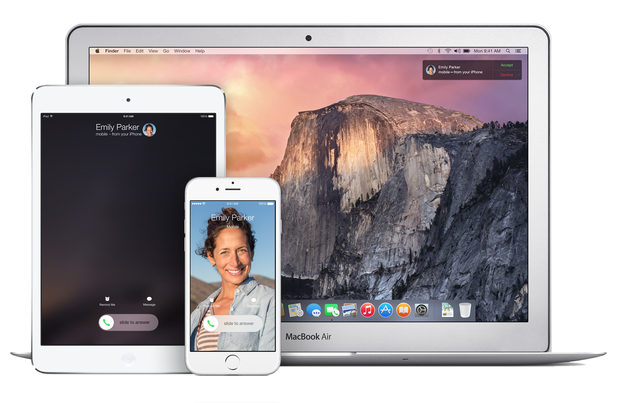 WITH IOS 8 AND YOSEMITE YOU CAN MAKE AND RECEIVE PHONE CALLS ON ALL DEVICES WITH YOUR APPLE ID