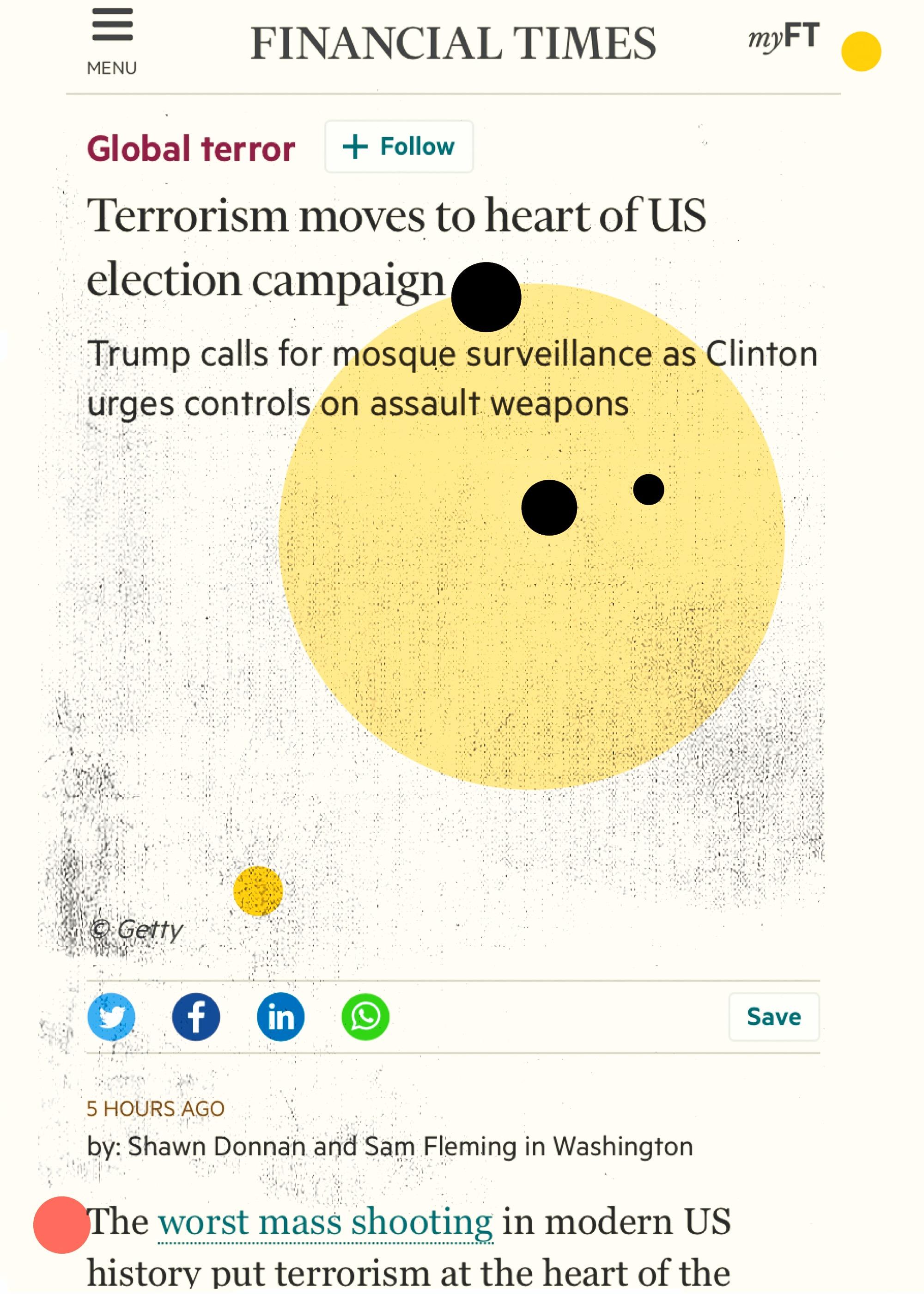 """Global Terror"", iPhone 6S, digital image, 2016."
