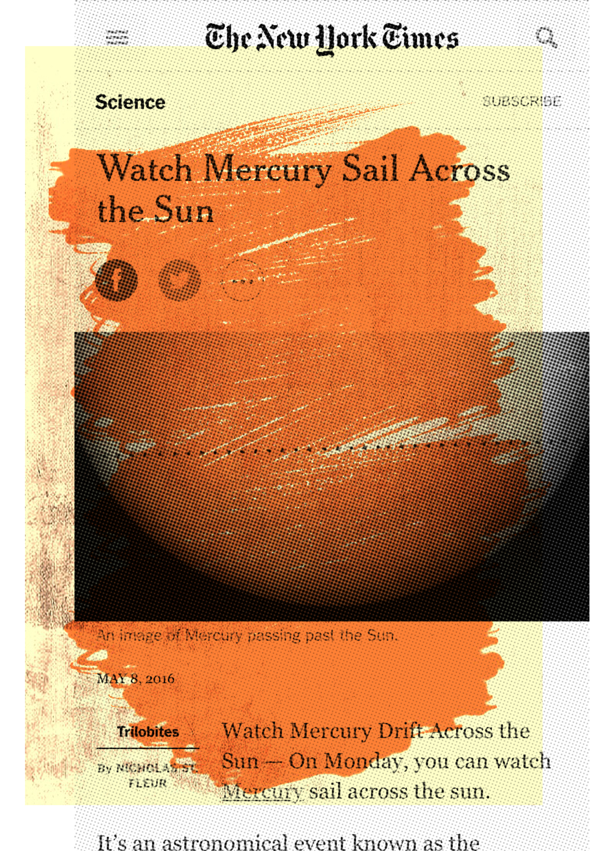 """Watch Mercury Sail Across the Sun"", iPhone 6S, digital image, 2016."